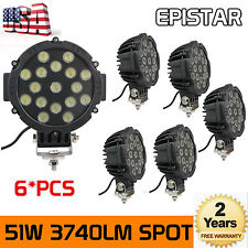 """6Pcs 7"""" inch 51W Round LED Work Lights Spot Offroad Boat ATV SUV Truck Lamps 4x4"""