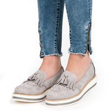 Womens Ladies Flat Slip On Casual Loafers On Platform Ravenna