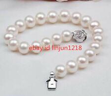 """Natural AAA New 9-10mm White Akoya Pearl Bracelet Bangle 7.5"""" AA++"""