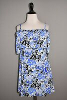 FIT 4 U NEW $96 Off-The-Shoulder Ruffle Swim Dress Blue Floral Size 10