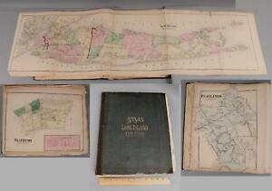 Antique 1873 Beers Comstock & Cline Fold-Out Maps of Long Island New York Atlas