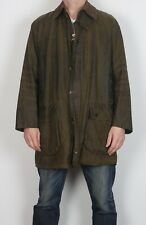 "BARBOUR Border Wax Jacket Chest 42"" Medium Large Green (C4E)"