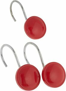 Carnation Color Rounds Ceramic Resin Shower Curtain Hook, Red CAR-PHP-COL/14
