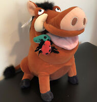"Disney Store Pumba The Lion King Plush Stuffed Toy Large Warthog w/ Bugs 15"" New"