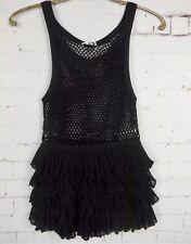 🌹$298.00 IISLI Black Crochet Net Sleeveless Scoop Neck Tiered Top S 1223