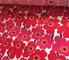 Marimekko Red Mini Unikko STIFF cotton 1/2 y,  fabric bins, book covers Finland