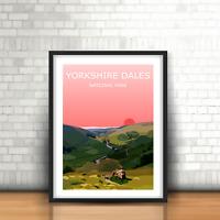 The Yorkshire Dales Sunset Art Print, National Park Landscape,Wild Hiking Gift
