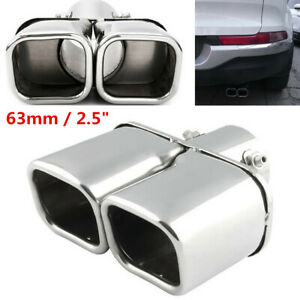 Stainless Steel Dual Exhaust Pipe Muffler 63mm Exit Square Tail Pipe For Car SUV