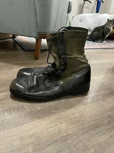 Altama 13R Jungle Boots Military Green Canvas/Black Leather Lace Up MEN