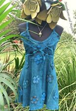 ENCHANTING TURQUOISE PIXIE VEST TOP UK SIZE 12 BOHO HIPPIE FESTIVAL YOGA DREADS