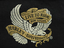 VTG 80s 3D Live To Ride Ride To Live HD Biker T-shirt Motorcycle not 70s 90s