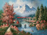 """12x16""""100% hand painted oil flat,Landscape/Mountain/Lake/Forest/Water Fall/Villa"""