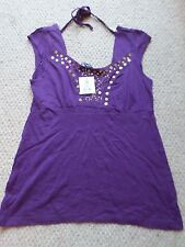 NEW STORE TWENTY ONE 100% COTTON PURPLE GOLD BEAD TOP SIZE UK 10 RRP: GBP 7.99