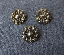 3 ANTIQUE VICTORIAN CUT STEEL & FILIGREE BRASS FLOWER BUTTONS  # 33