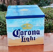 Vintage 90's Corona Light Find Your Beach Metal Cooler/Ice Chest Holds Water