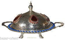 antik-look orient Massive Neusilber islamic indo persian Obstschale schale No:K