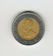 1997 ECUADOR 100 SUCRES Bi-Metal From Ecuadorian Mint Roll BIN #FFF AU//UNC