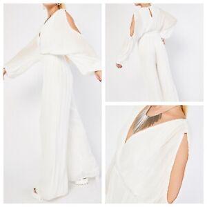Ladies Ivory Jumpsuit Size 22 Cold Shoulder Lined Wide Leg Party NEW NWOT 🌹