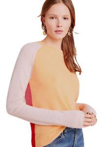 New Anthropologie DORINDA Cashmere XS Color Block Red Pink Crew Neck Sweater