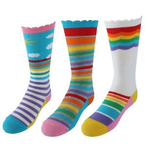 New Jefferies Socks Girl's Rainbow Striped Knee High Socks (3 Pair Pack)