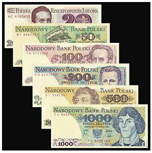 Poland Banknote 6pcs Set (UNC) 全新 波兰 人物 6枚 (20,50,100,200,500,1000兹罗提)
