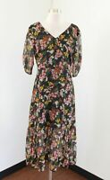 Ann Taylor Black Multi Color Metallic Floral Midi Dress Sz 6 Tea Pink Green Boho