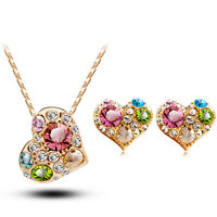 Shiny Gold Colourful Hearts Jewellery Set Drop Earrings Necklace Pendant S640