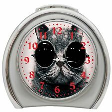British Short Hair With Glasses Alarm Clock Night Light Travel Table Desk