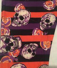 New Lularoe TC2 Skulls Orange Purple Stripes Roses Halloween - Major Unicorn