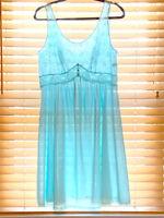 Vintage 1960s Vanity Fair Aqua Blue Lace Trim Nightie. Size 40