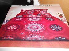 parure coton 240 x 260 cm ROSACE rouge, housse couette + 2 taies - neuve