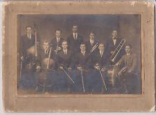 "Antique Photograph-School Music Band-Teacher-Black&White-8x11"" w Mount-Horn-Vtg"