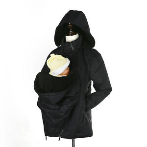 3 in 1 Warm Winter Maternity Baby Carrier Jacket - Weatherproof - Black or Grey