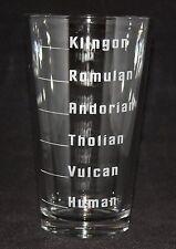 Star Trek Levels of Alien Drinking Custom Etched Pint Glass