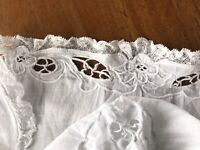 Antique Hand Embroidered Cutwork White Lawn Lace Dolls Bonnet Hat