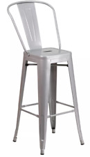 """Commercial Grade 30"""" High Metal Indoor-Outdoor Barstool with Back (2 Pack)"""