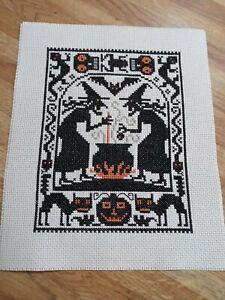 "Completed Cross Stitch Prairie Schooler ""Double,double.  !"" Halloween Sampler"