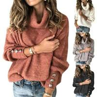 Plus Size Womens High Cowl Neck Pullover Knitted Sweater Long Sleeve Jumper Top