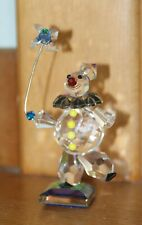 CRYSTALLITE CRYSTAL GLASS FIGURINE CLOWN w/PINWHEELon DICHROIC BASE CI2040 rz