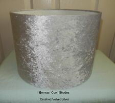 Handmade Lampshade 20cm in Silver Crushed Velvet Fabric Drum Light Shade Lamp