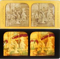 PARIS LONDRES Crystal Palace Statues Exposition Universelle Photo Stereo Diorama