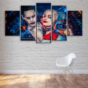 Harley Quinn And The Joker 5 Panel Canvas, Huge, Wall Art, Picture, Print #076