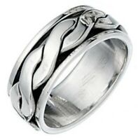 Elements 925 Oxidised Sterling Silver Men's Twisted Band Spinning Stress Ring