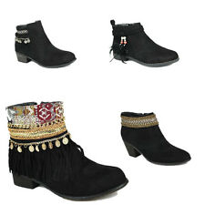 WOMENS CASUAL CUBAN HEEL CHELSEA STYLE TASSEL ANKLE BOOTS SHOES NEW SIZE 3-8