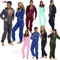 Mens Ladies one piece onsie Jumpsuit unisex pyjamas plain Printed lot Sleepwear