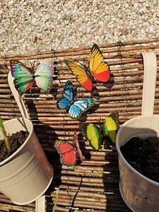 10 x Garden Butterflies Summer Butterfly Sticks Outdoor Indoor Decor multicolour