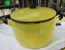 Mid Century Modern Kockum Sweden Yellow 1.5 liter Enamel Pot with lid #1