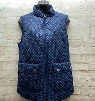 Croft & Barrow Womens Size Small Blue Geo Print Zip Up Fashion Vest