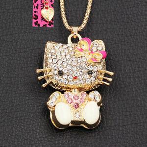 Betsey Johnson Enamel Crystal Cute Cat Kitten Pendant Sweater Chain Necklace