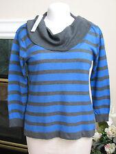 New - Womens AUGUST SILK Cowl Neck Striped Sweater Blue & Gray Sz L - NWT